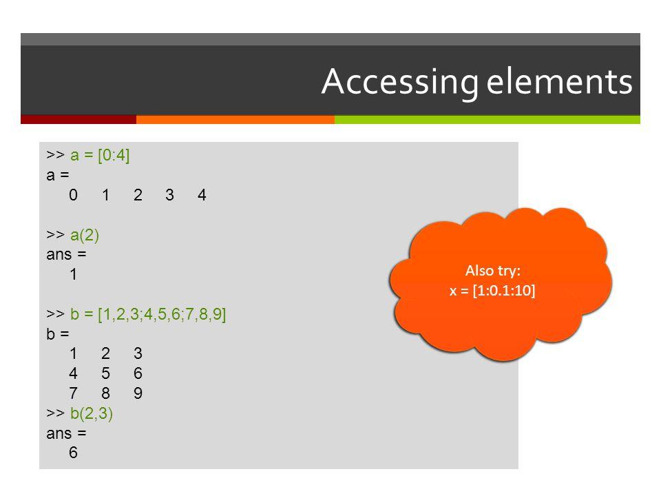 Accessing elements >> a = [0:4] a = 0 1 2 3 4 >> a(2)